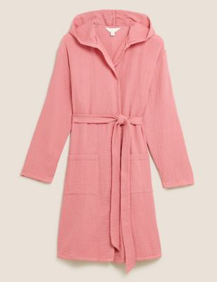 Pure Cotton Muslin Hooded Dressing Gown