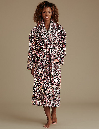 Leopard Print Dressing Gown with Belt | M