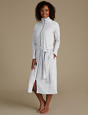 Striped Zip Through Dressing Gown, GREY MIX, catlanding