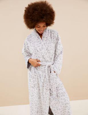 Fleece Animal Print Tie Dressing Gown
