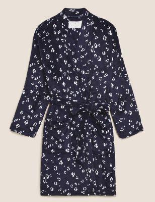 Fleece Animal Print Kimono Gown