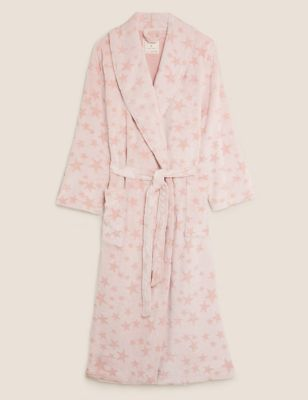 Fleece Star Print Tie Long Dressing Gown