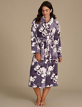 Shimmersoft™ Floral Print Dressing Gown, GREY MIX, catlanding