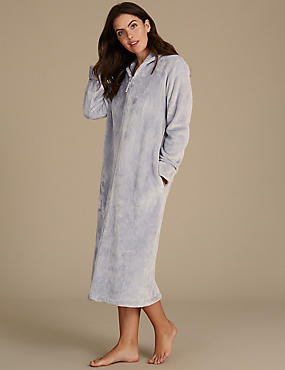 Shimmersoft™ Zip Through Dressing Gown, SILVER, catlanding