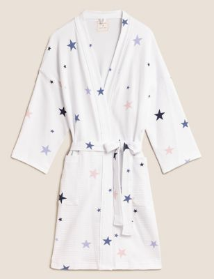 Waffle Star Print Short Dressing Gown