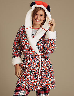 Pure Cotton Minnie Mouse™ Dressing Gown, RED MIX, catlanding