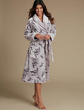 Shimmersoft™ Floral Print Carved Dressing Gown, MAUVE MIX, catlanding