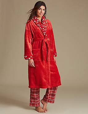 Fleece Heart Print Dressing Gown, RED, catlanding