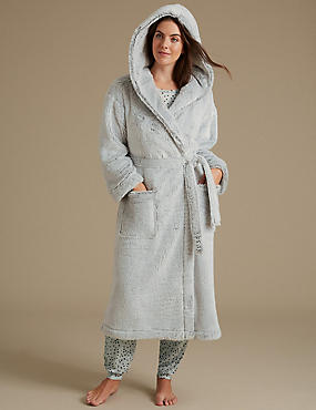 Shimmersoft™ Hooded Dressing Gown, GREY MARL, catlanding