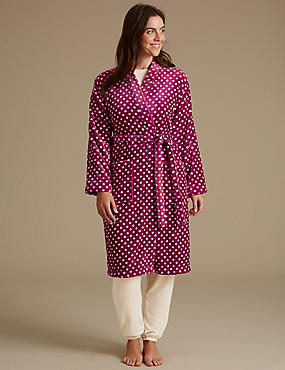 Shimmersoft™ Spotted Dressing Gown, MULBERRY MIX, catlanding