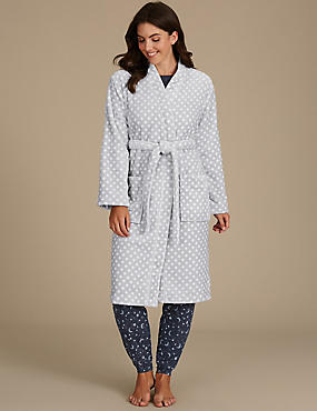 Shimmersoft™ Spotted Dressing Gown, GREY MIX, catlanding