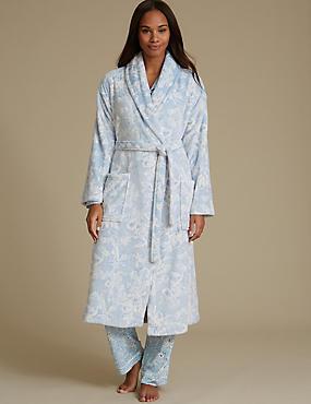 Shimmersoft™ Fleece Floral Print Dressing Gown, , catlanding
