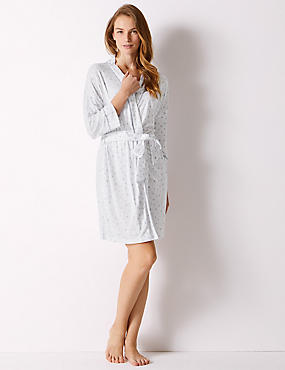 Heart Print Wrap Dressing Gown, WHITE MIX, catlanding