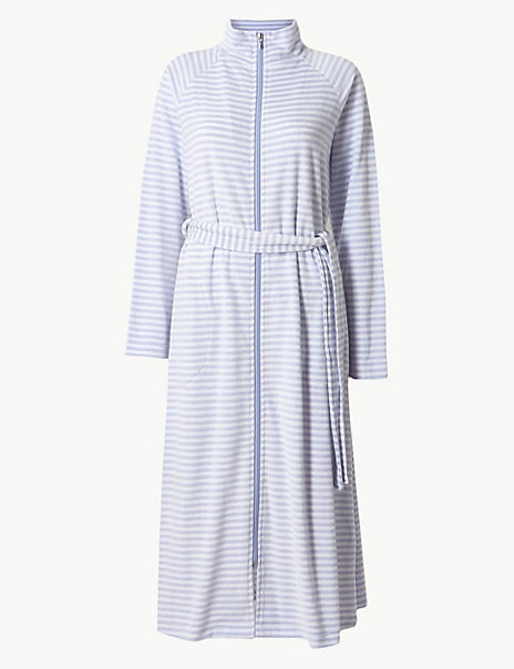 Velour Striped Zip-up Dressing Gown