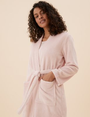 Fleece Ribbed Dressing Gown