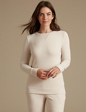 Long Sleeve Pyjama Top, OATMEAL, catlanding