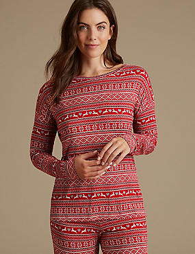 Fairisle Print Long Sleeve Pyjama Top, RED MIX, catlanding