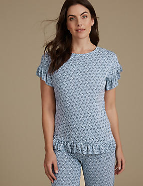 Frill Hem Printed Short Sleeve Pyjama Top, CHAMBRAY, catlanding