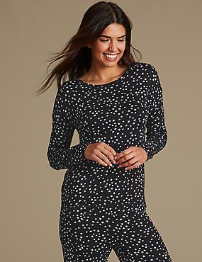 Star Print Long Sleeve Pyjama Top, BLACK MIX, catlanding