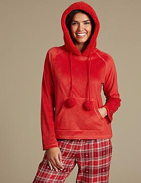 Fleece Hooded Long Sleeve Pyjama Top, RED MIX, catlanding