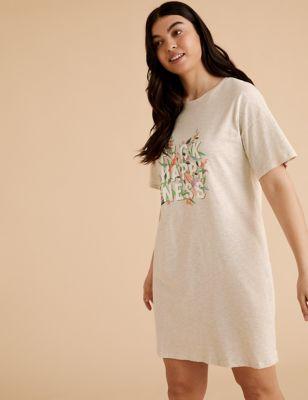 Cotton Pick Happiness Slogan Short Nightdress