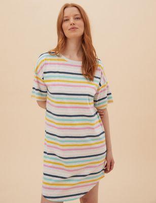 Cotton Striped Short Nightdress