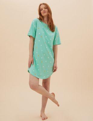 Pure Cotton Spot Print Short Nightdress