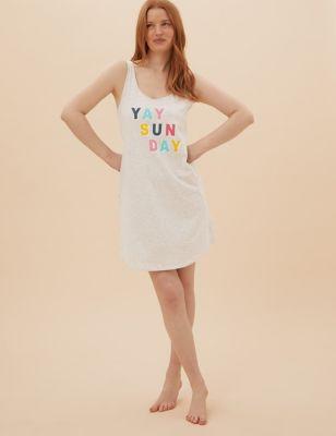 Cotton Yay Sunday Slogan Short Nightdress