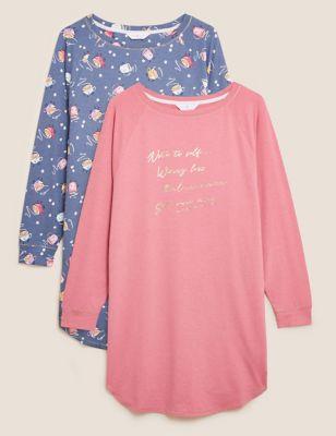 2pk Cotton Rich Short Nightdresses