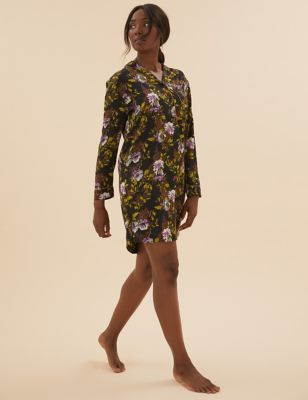 Satin Floral Short Nightshirt