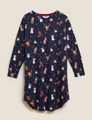 Pure Cotton Festive Animal Print Nightdress