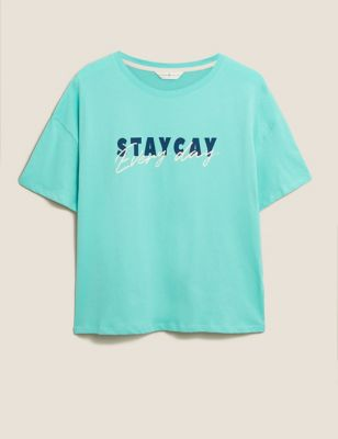 Pure Cotton Staycay Slogan Tee
