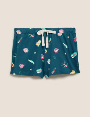 Pure Cotton Pool Print Pyjama Shorts