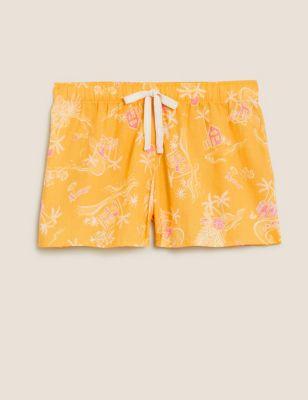 Pure Cotton Tropical Print Shorts