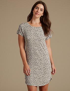Star Print Short Sleeve Nightdress, GREY MIX, catlanding