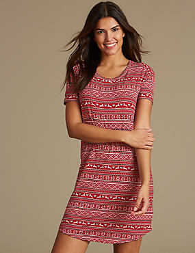 Fairisle Print Short Sleeve Nightdress, RED MIX, catlanding