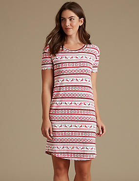 Fairisle Print Short Sleeve Nightdress, OATMEAL MIX, catlanding