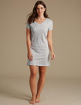 Modal Blend Printed Nightdress, GREY MIX, catlanding