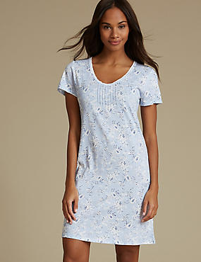 Modal Blend Floral Print Short Nightdress, BLUE MIX, catlanding