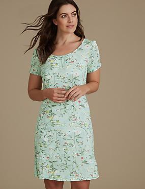 Floral Print Short Sleeve Nightdress, SAGE MIX, catlanding
