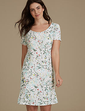 Floral Print Short Sleeve Nightdress, OATMEAL MIX, catlanding