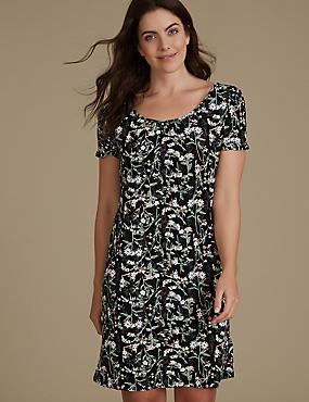 Floral Print Short Sleeve Nightdress, BLACK MIX, catlanding