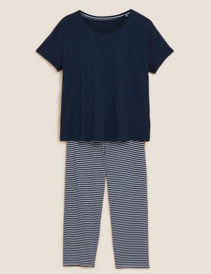 Pure Cotton Striped Cropped Pyjama Set