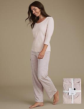 Pure Cotton Geometric Leaf Print Pyjamas, GREY MIX, catlanding
