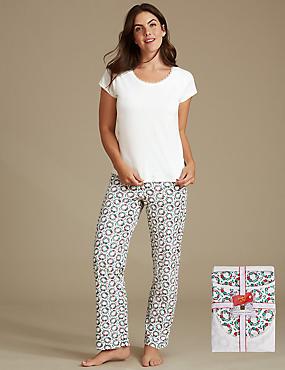 Pure Cotton Wreath Print Short Sleeve Pyjamas, GREEN MIX, catlanding