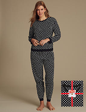 All Over Print Long Sleeve Pyjamas, BLACK MIX, catlanding