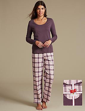 Pure Cotton Checked Pyjamas with StayNEW™, PURPLE MIX, catlanding