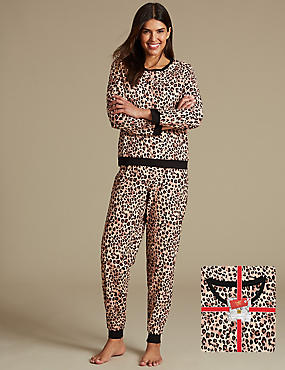 Animal Print Long Sleeve Pyjamas, BROWN MIX, catlanding