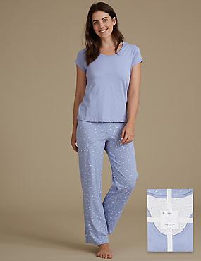 Pure Cotton Printed Short Sleeve Pyjamas, SOFT BLUE, catlanding