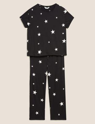 Cotton Star Print Short Sleeve Pyjama Set